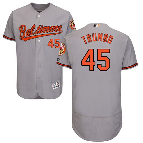 Orioles #45 Mark Trumbo Grey Flexbase Authentic Collection Stitched MLB Jersey