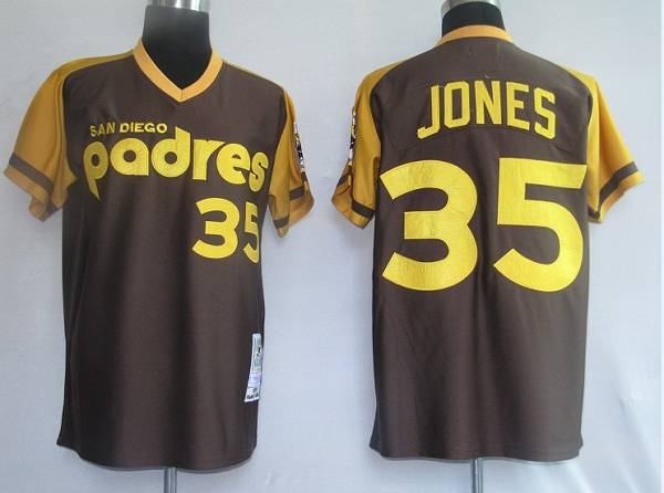 Mitchell and Ness Padres #35 Randy Jones Coffee Stitched Throwback MLB Jersey