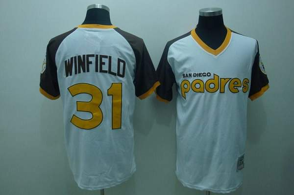 Mitchell and Ness Padres #31 Dave Winfield Stitched White Throwback MLB Jersey