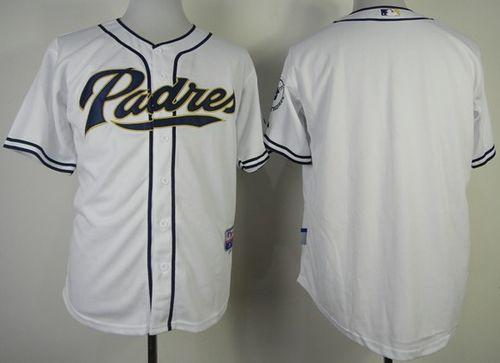 Padres Blank White Cool Base Stitched MLB Jersey