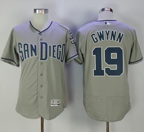 Padres #19 Tony Gwynn Grey Flexbase Authentic Collection Stitched MLB Jersey