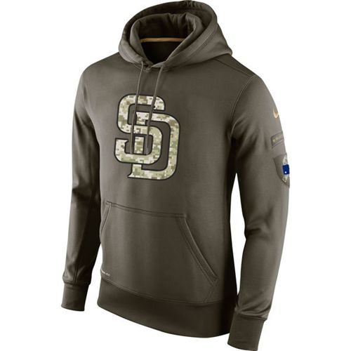 Men's San Diego Padres Nike Olive Salute To Service KO Performance Hoodie
