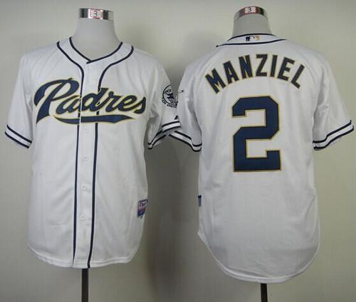 Padres #2 Johnny Manziel White Cool Base Stitched MLB Jersey