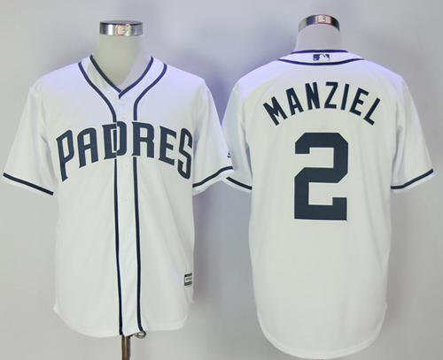 Padres #2 Johnny Manziel White New Cool Base Stitched MLB Jersey