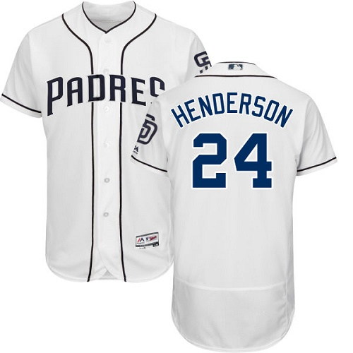 Padres #24 Rickey Henderson White Flexbase Authentic Collection Stitched MLB Jersey
