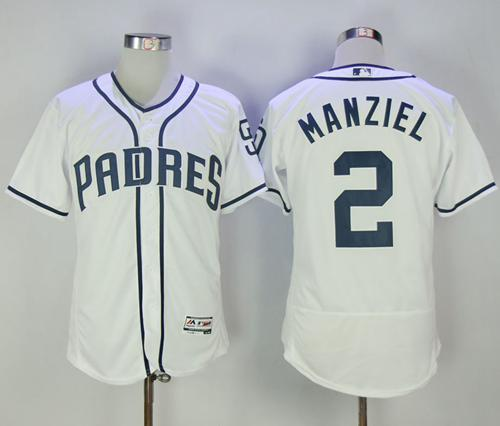 Padres #2 Johnny Manziel White Flexbase Authentic Collection Stitched MLB Jersey