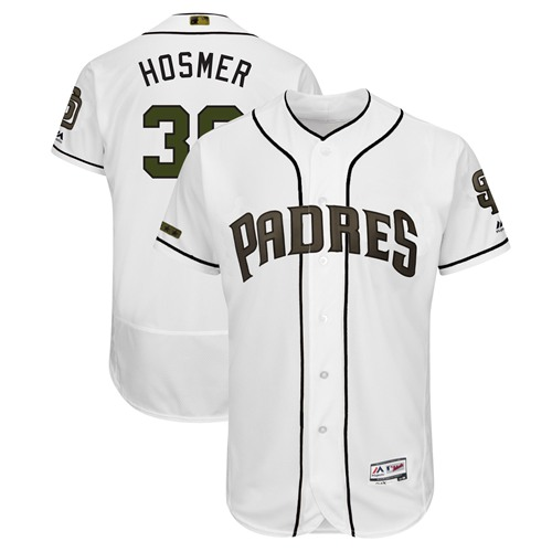 Padres #30 Eric Hosmer White Flexbase Authentic Collection 2018 Memorial Day Stitched MLB Jersey