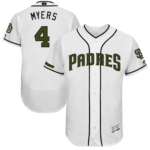 Padres #4 Wil Myers White Flexbase Authentic Collection Memorial Day Stitched MLB Jersey