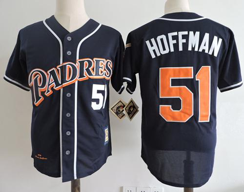 Mitchell And Ness 1998 Padres #51 Trevor Hoffman Navy Blue Throwback Stitched MLB Jersey
