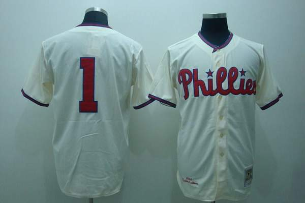 Mitchell and Ness Phillies #1 Richie Ashburn Stitched Cream Throwback MLB Jersey
