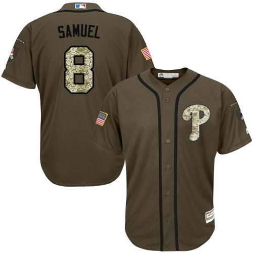 Phillies #8 Juan Samuel Green Salute to Service Stitched MLB Jersey