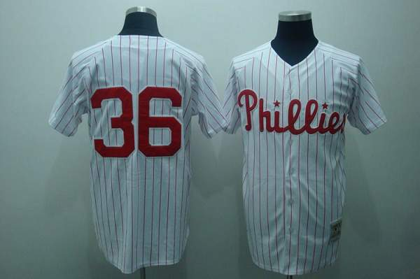 Mitchell and Ness Phillies #36 Robin Roberts Stitched White Red Strip MLB Jersey