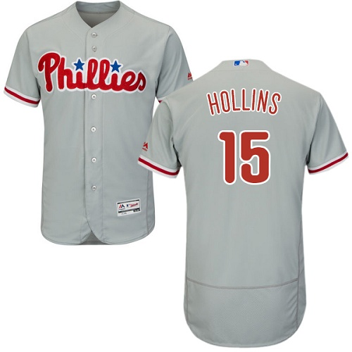 Phillies #15 Dave Hollins Grey Flexbase Authentic Collection Stitched MLB Jersey