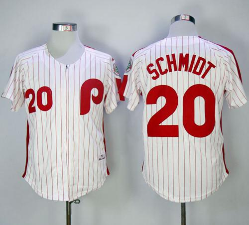 Mitchell and Ness 1983 Phillies #20 Mike Schmidt Stitched White Red Strip Throwback MLB Jersey