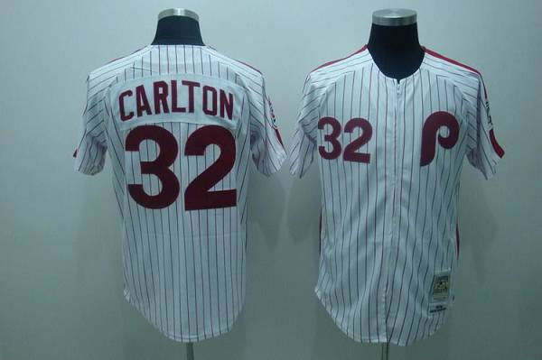 Mitchell and Ness Phillies #32 Steve Carlton Stitched White Red Strip Throwback MLB Jersey