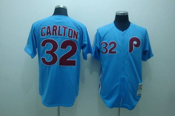 Mitchell and Ness Phillies #32 Steve Carlton Stitched Blue Throwback MLB Jersey