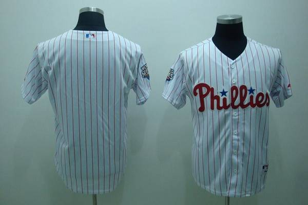 Phillies Blank Stitched White Red Strip MLB Jersey