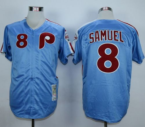 Mitchell And Ness 1984 Phillies #8 Juan Samuel Blue Throwback Stitched MLB Jersey