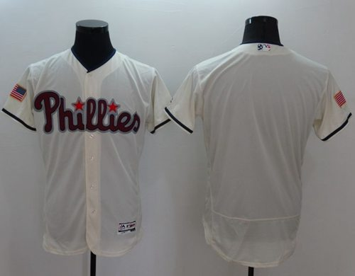 Phillies Blank Cream Fashion Stars & Stripes Flexbase Authentic Stitched MLB Jersey