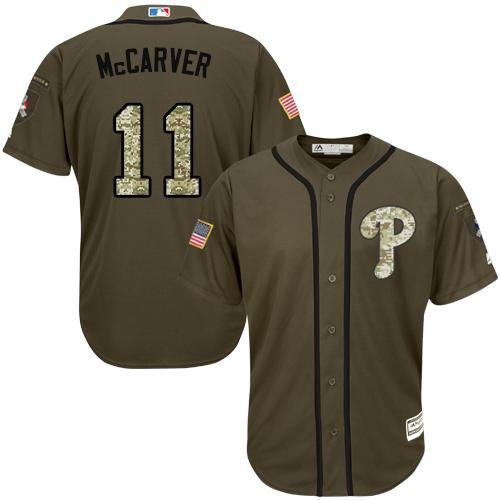 Phillies #11 Tim McCarver Green Salute to Service Stitched MLB Jersey