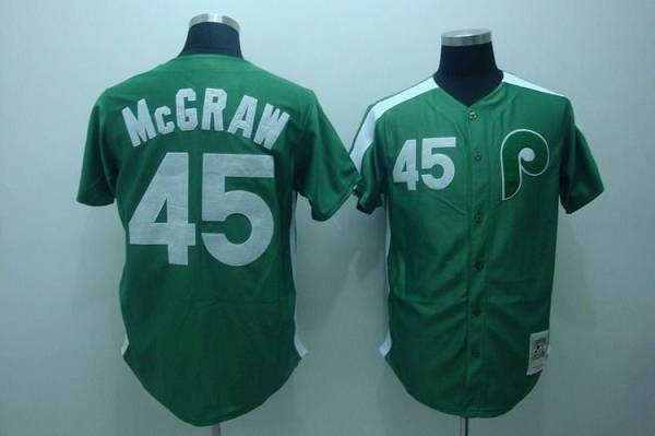 Mitchell and Ness Phillies #45 Tug Mcgraw Green Stitched Throwback MLB Jersey