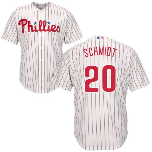 Phillies #20 Mike Schmidt White(Red Strip) New Cool Base Stitched MLB Jersey