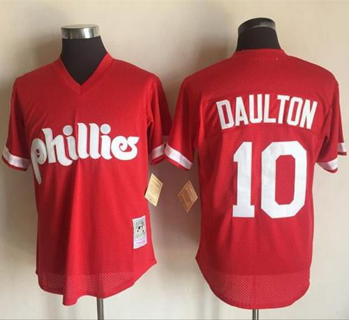 Mitchell and Ness 1991 Phillies #10 Darren Daulton Red Stitched MLB Jersey