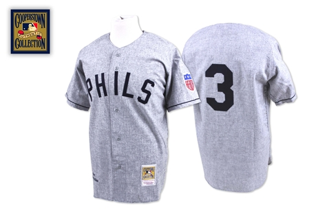 Mitchell And Ness 1942 Phillies #3 Chuck Klein Grey Stitched MLB Jersey