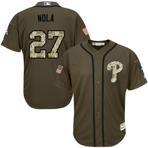 Phillies #27 Aaron Nola Green Salute to Service Stitched MLB Jersey