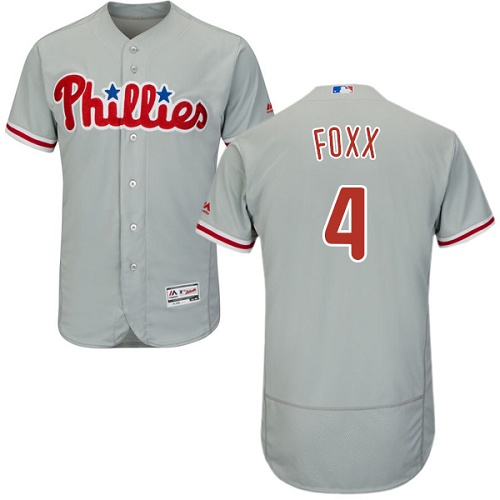 Phillies #4 Jimmy Foxx Grey Flexbase Authentic Collection Stitched MLB Jersey