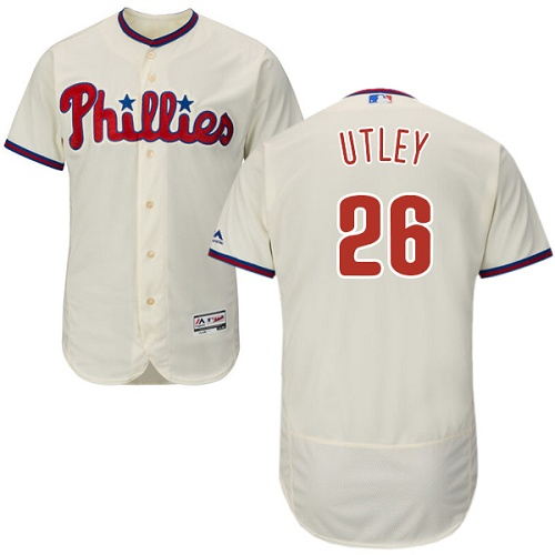 Phillies #26 Chase Utley Cream Flexbase Authentic Collection Stitched MLB Jersey