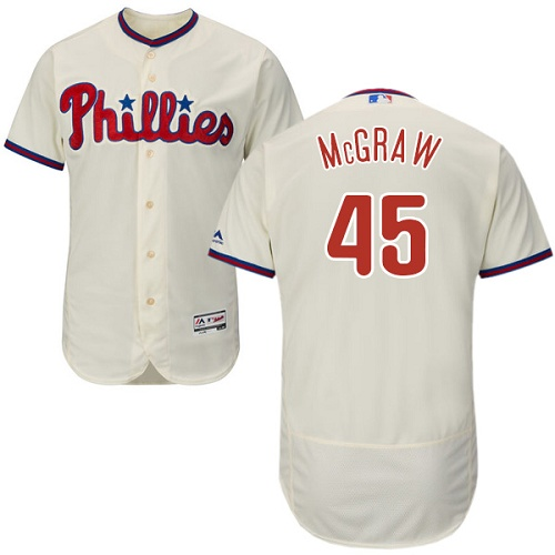 Phillies #45 Tug McGraw Cream Flexbase Authentic Collection Stitched MLB Jersey