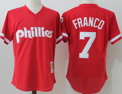 Mitchell And Ness Phillies #7 Maikel Franco Red Throwback Stitched MLB Jersey