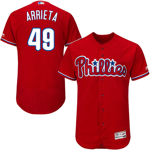 Phillies #49 Jake Arrieta Red Flexbase Authentic Collection Stitched MLB Jersey