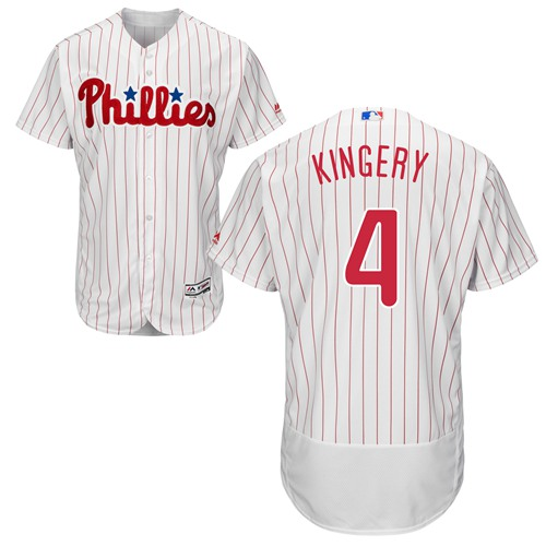 Phillies #4 Scott Kingery White(Red Strip) Flexbase Authentic Collection Stitched MLB Jersey