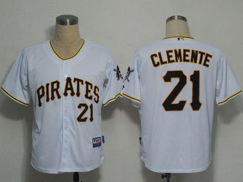 Pirates #21 Roberto Clemente White Cool Base Stitched MLB Jersey