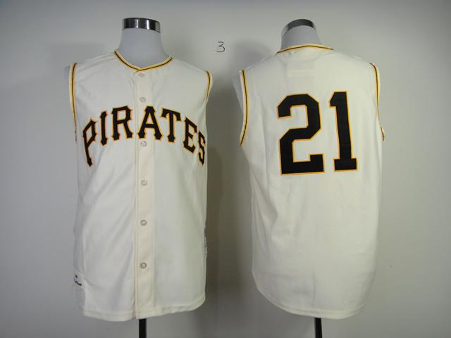 Mitchell And Ness 1960 Pirates #21 Roberto Clemente Cream Throwback Stitched MLB Jersey