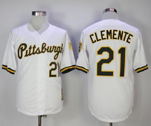 Mitchell And Ness 1990-1997 Pirates #21 Roberto Clemente White Throwback Stitched MLB Jersey