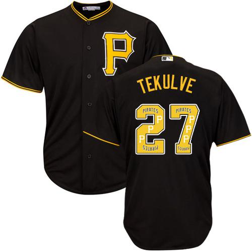 Pirates #27 Kent Tekulve Black Team Logo Fashion Stitched MLB Jersey