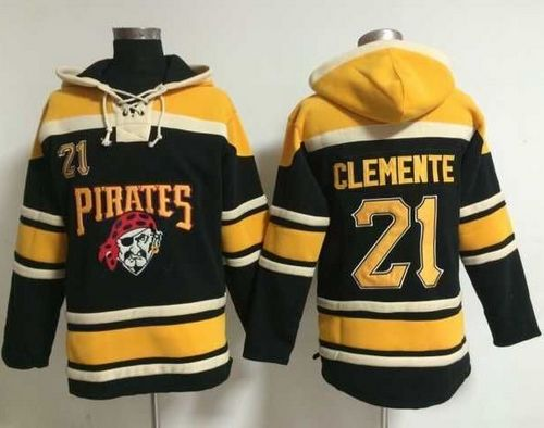 Pirates #21 Roberto Clemente Black Sawyer Hooded Sweatshirt MLB Hoodie