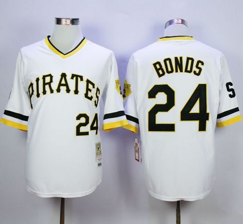 Mitchell And Ness Pirates #24 Barry Bonds White Throwback Stitched MLB Jersey