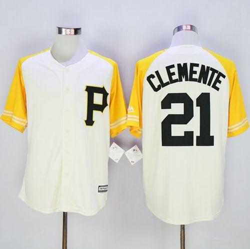 Pirates #21 Roberto Clemente Cream/Gold Exclusive New Cool Base Stitched MLB Jersey