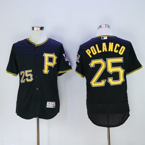 Pirates #25 Gregory Polanco Black Flexbase Authentic Collection Stitched MLB Jersey