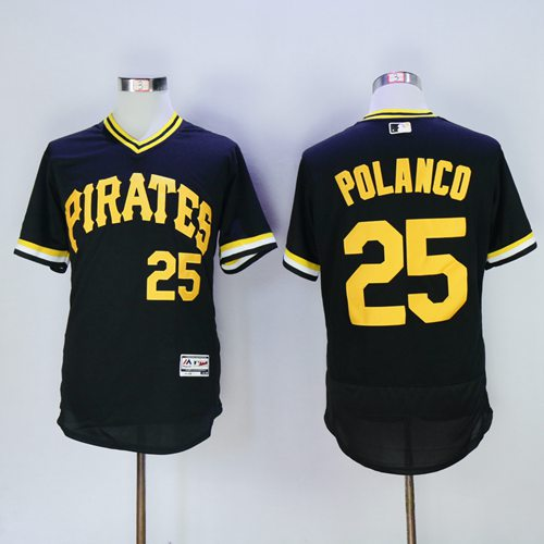 Pirates #25 Gregory Polanco Black Flexbase Authentic Collection Cooperstown Stitched MLB Jersey