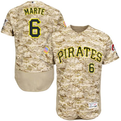 Pirates #6 Starling Marte Camo Flexbase Authentic Collection Stitched MLB Jersey