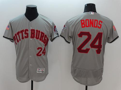 Pirates #24 Barry Bonds Grey Fashion Stars & Stripes Flexbase Authentic Stitched MLB Jersey