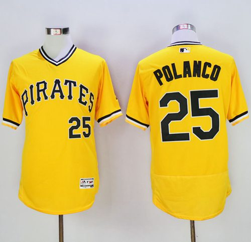Pirates #25 Gregory Polanco Gold Flexbase Authentic Collection Cooperstown Stitched MLB Jersey