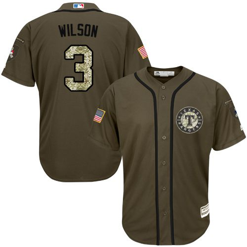 Rangers #3 Russell Wilson Green Salute to Service Stitched MLB Jersey