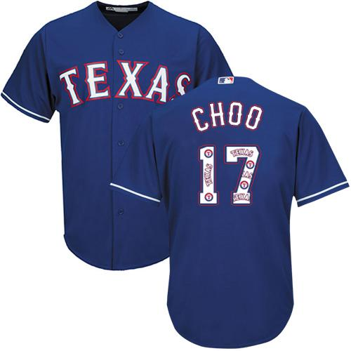 Rangers #17 Shin-Soo Choo Blue Team Logo Fashion Stitched MLB Jersey