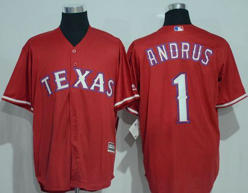 Rangers #1 Elvis Andrus Red New Cool Base Stitched MLB Jersey